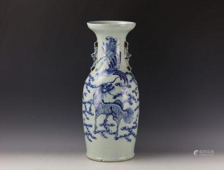 A Chinese Celadon Blue and White Qilin and Phoenix Vase