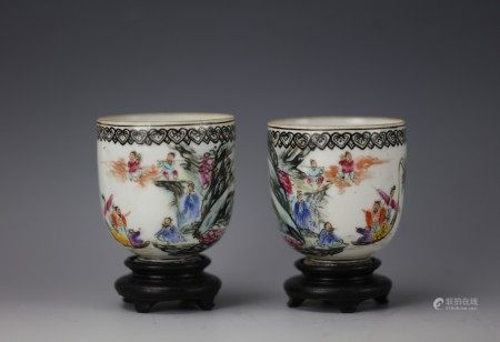 A Pair of Chinese Famille Rose Eight Immortals Eggshell Cups