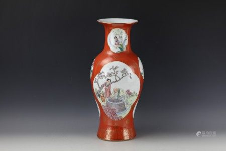 A Chinese Coral Red Famille Rose Baluster Vase with Qianlong Mark