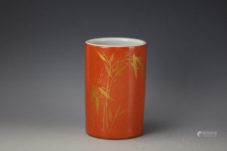 A Chinese Coral Red Gilt-Decorated Brushpot