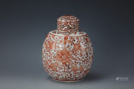 A Chinese Iron Red Ginger Jar and Cover