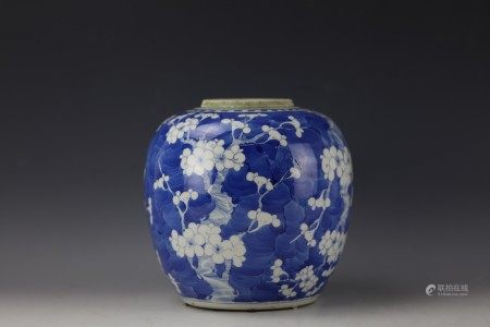 A Chinese Blue and White 'Prunus' Ginger Jar