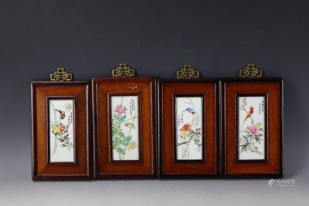 A Group of Four Framed Chinese Porcelain Plaques