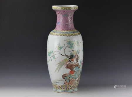 AChinese Famille Rose Floral Rouleau Vase