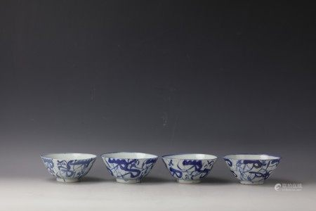 A Group of 4 Chinese Blue and White Bowls