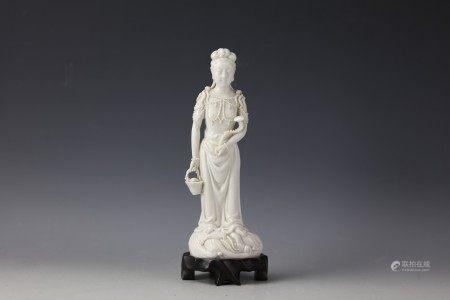 A Chinese White-Glazed Figure of Guanyin