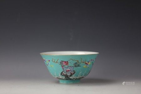 A Chinese Turquoise-Ground Famille Rose Bowl