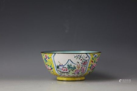 A Chinese Yellow-Ground Enameled Bowl