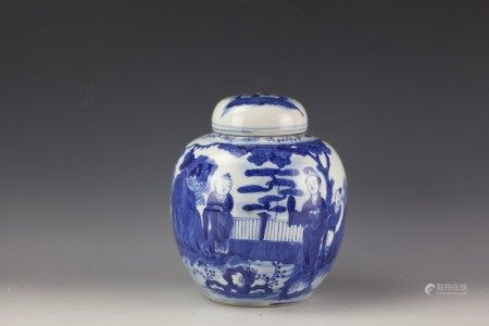 A Chinese Blue and White Ginger Jar and Cover with Kangxi Mark