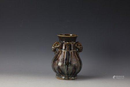 A Chinese Flambe-Glazed Baluster Vase