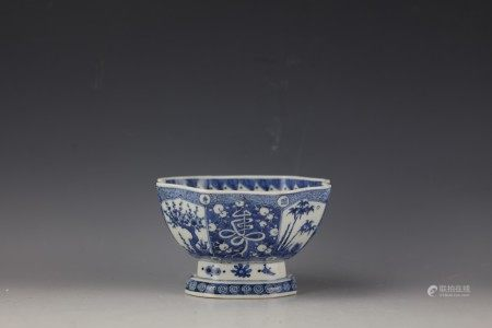 A Chinese Blue and White Hexagonal Bowl