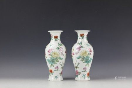 A Pair of Chinese Famille Rose Betterfly and Floral Vases