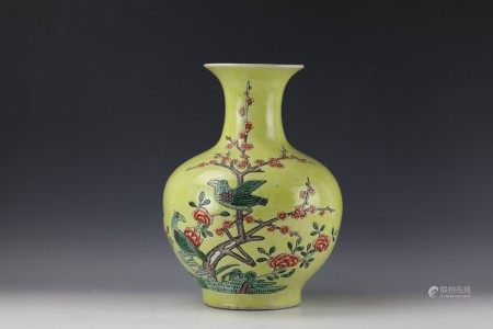 A Chinese Yellow-Ground Famille Verte Vase