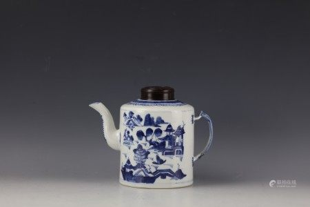 A Chinese Blue and White Teapot with Low Handle