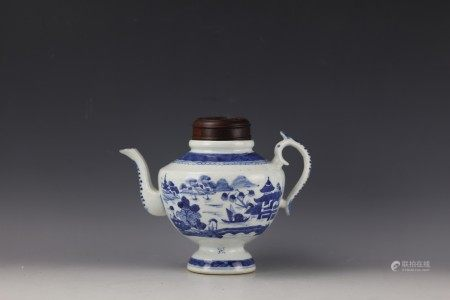 A Chinese Blue and White Teapot with Tall Handle