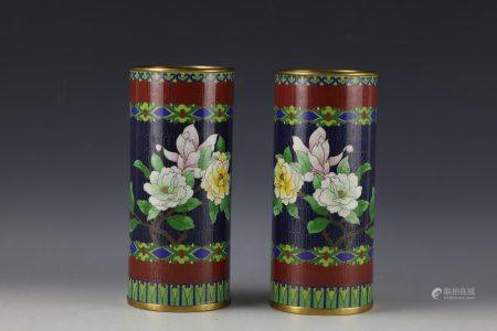 A Pair of Chinese Cloisonne Hatstands