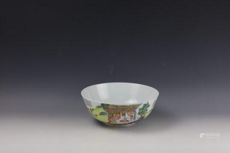 A Storied Famille Rose Bowl with Daoguang Mark