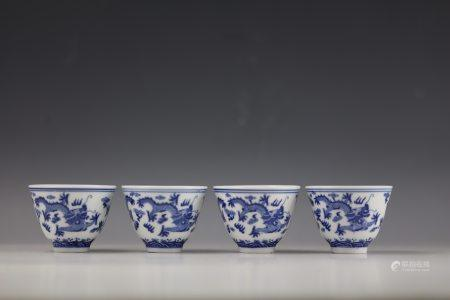 A Group of 4 Chinese  Blue and White Dragon Cups