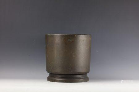 A Japanese Bronze Silver Inlaid Incense Burner
