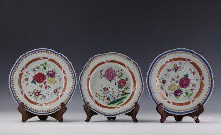 Three Chinese Famille Rose Lobed Dishes