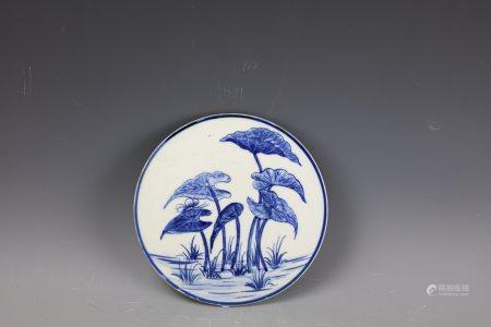 A Chinese Blue and White Plaque
