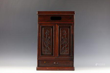 A Chinese Carved Buddha Rosewood Stand Box