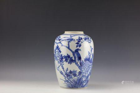 A Chinese Blue and White Ovoid Vase with Double Circle Mark