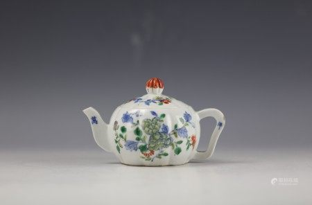 A Chinese Doucai Teapot with Wanli Mark