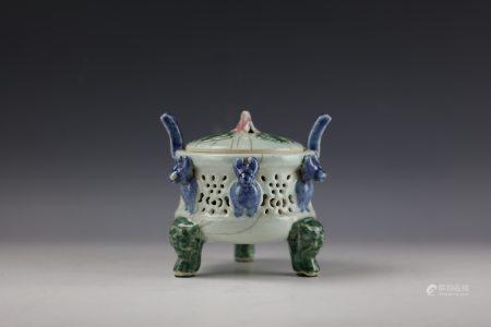 A Chinese Celadon Glazed Tri-Color Tripod Censer
