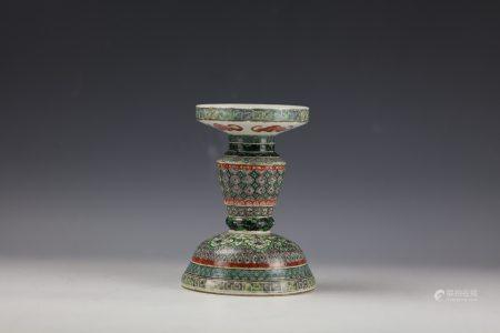 A Chinese Famille VerteWucai Candle Holder