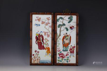 Pair of Chinese Famille Rose Porcelain Plaques