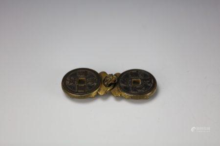 A  Gilt-Bronze Coin Belt Buckle