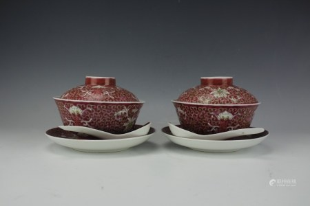 Six-Piece Chinese Iron Red Ground Famille Rose Tea Set