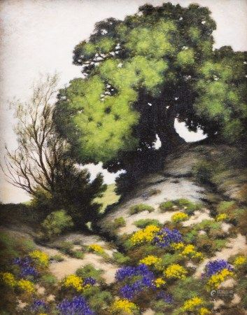 PAINTING, ROBERT HOUSTON, GOLDENBUST AND LUPINE