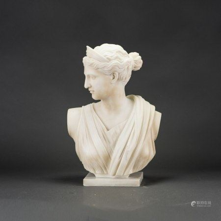 A WHITE MARBLE BUST OF A YOUNG WOMAN