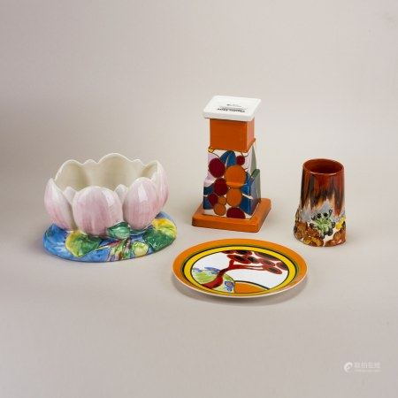 4 CLARICE CLIFF GLAZED & ENAMELED PORCELAIN TABLE ARTICLES