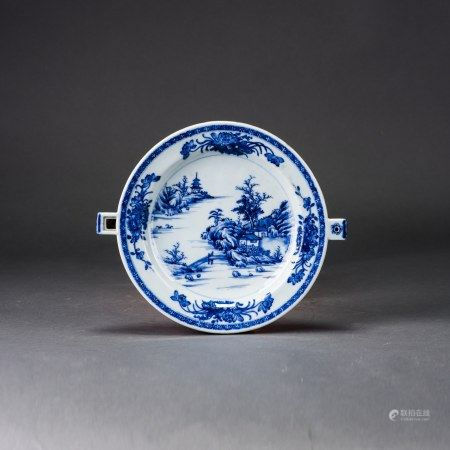 A BLUE AND WHITE 'LANDSCAPE' DISH
