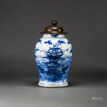 A BLUE AND WHITE 'LOTUS POND AND MANDARIN DUCK' JAR WITH COVER