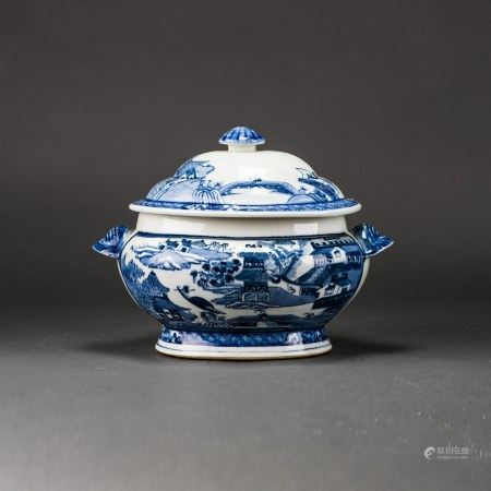 A BLUE AND WHITE 'LANDSCAPR'  JAR WITH COVER