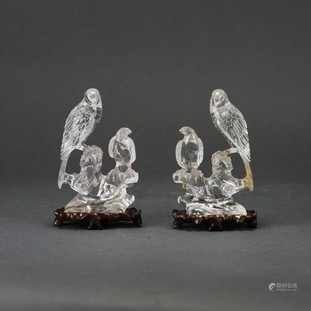 A PAIR OF CHINESE ROCK CRYSTAL MODELS OF BIRDS