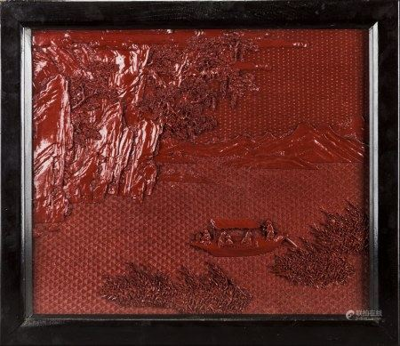 A CARVED CINNABAR LACQUERPANEL WITH FRAME