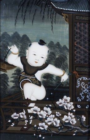 A FRAMED CHINESE REVERSE GLASS PAINTING