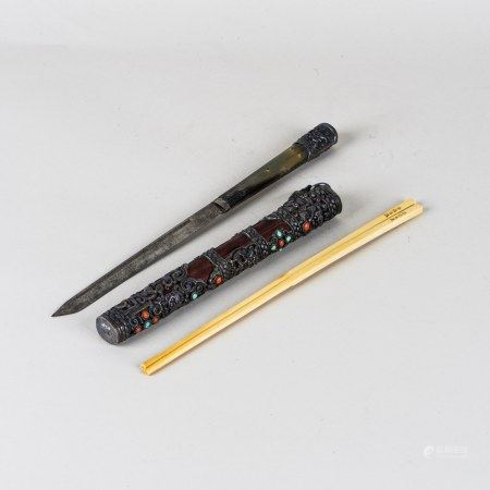 GEM STONE INLAID SILVER-DECORATED WOODEN CASE WITH CHOPSTICKS&KNIFE