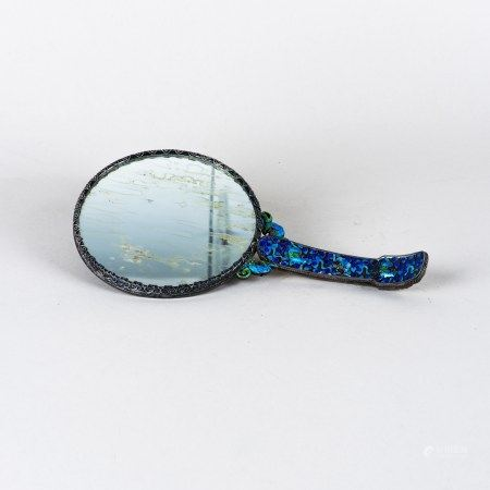 A CLOISONNE HAND MIRROR WITH JADE PLAQUE AND BELT BUCKLE