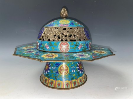 A Chinese Cloisonne High Stem Plater with Hallowed Cover