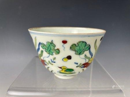 An Exquisite Mandarin Ducks Doucai Cup with Chenghua Mark