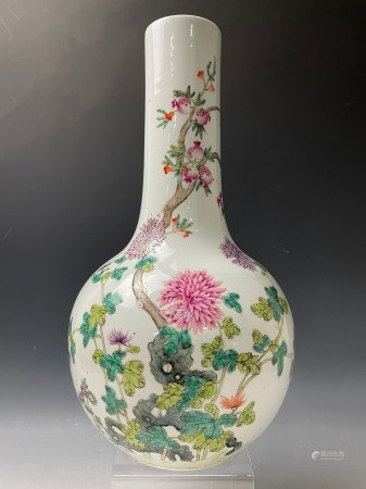 A Pomegranate and Chrysanthemum Famille Rose Bottle Vase with Hongxian Mark