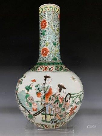 A Figural Storied Famille Verte Bottle Vase with Kangxi Mark
