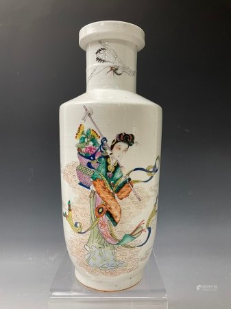 A Ma Gu Xian Shou Longevity Auspicious Famille Rose Vase