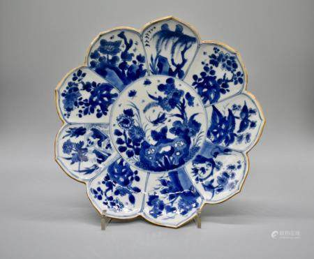 Flower shaped Blue and White Dish with Grasshopper